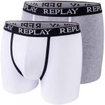 Replay Style 05 fehér/szürke boxer alsónadrág 2 darab